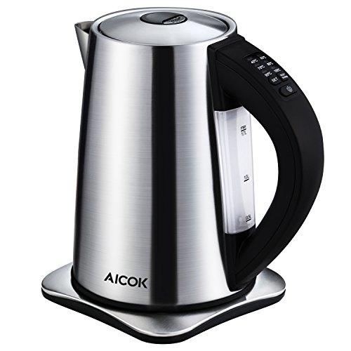 Aicok Wasserkocher Edelstahl, Wasserkocher Temperatureinstellung mit Warmhaltefunktion, BPA Frei Kessel, 2200 Watt, 1,7 Liter, Silber/Schwarz