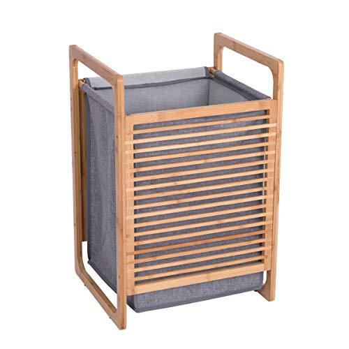 Feenice Wäschekorb Bambus Wäschesammler mit Deckel und Griffen Wäschesortierer Wäschesack Wäschebox herausnehmbar Waschbar große Kapazität