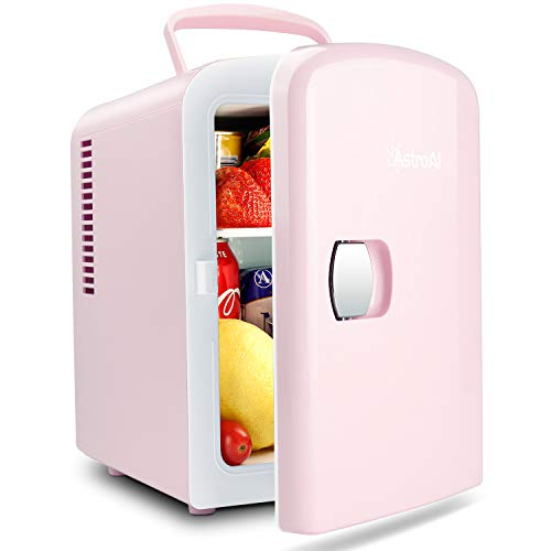 AstroAI 2 in 1 Mini Kühlschrank, 4 Liter Fridge mit Kühl- und Heizfunktion 12 Volt am Zigarettenanzünder und 230 Volt Steckdose für Autos, Büros und Schlafsäle, Rosa