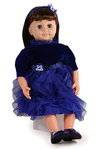 Ask Amy 22' Talking Interactive Singing Storytelling Smart Educational Doll Brunette Blue Dress Holiday Edition