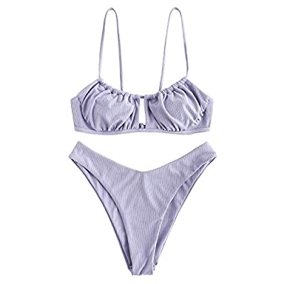 Material: Nylon, Spandex Our Size: S--US 4, M--US 6, L--US 8.Please refer to our size detail in description before ordering Removable Padded Bra, Elastic Shoulder Strap, High Cut Bottom, Solid Color Crafted with ruching and a bandeau-style, the bikin...