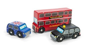 Le Toy Van Wooden Little London Themed Vehicle Set Iconic Red Bus, Black Cab and Union Jack Classic Car Toys