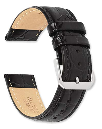 deBeer - 20mm Alligator Grain Watch Strap - Black - Extra Long Length Leather Watch Band