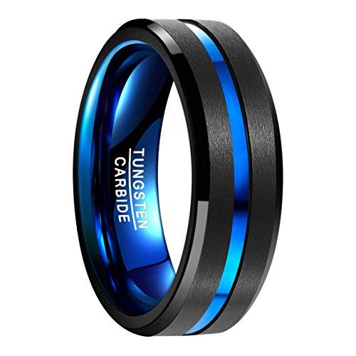 NUNCAD Ring Men Fashion, Wolframcarbid mit polierter Oberfläche ﹢ blauem Groove, Außenbreite 8mm bequem, schwarz﹢blau, Größe 61