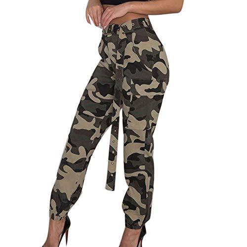 BaZhaHei Pantalones de Camo Cargo para Mujer Pantalones Casuales Pantalones de Camuflaje ejército Militar Combat Pantalones de Camuflaje para Mujer Cargo Joggers Pantalones Hip Hop