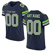 Material: 100% Polyester Football Jerseys for Men Women Youth - Jerseys as the picture shows, Stitched people's name, number on chest Custom Football Jerseys - Personalized Customization Jerseys: With your Name and/or Number you'd like on the back of...