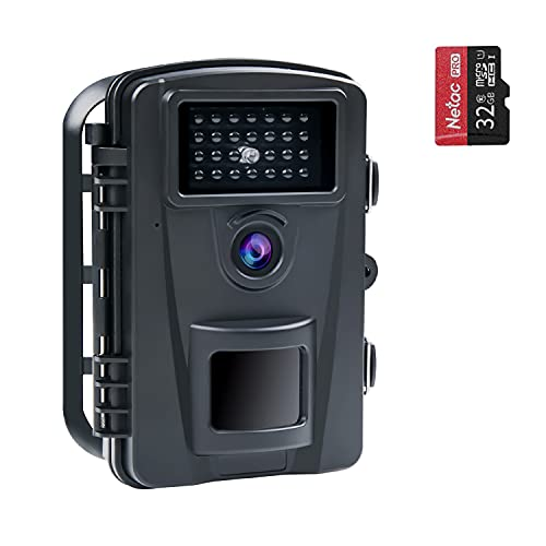COOLIFE 16MP 1080P HD Caméra de Chasse Vitesse de Déclenchement 0.2s et 27 pcs Infrarouges LED de 940nm, Camera de Chasse Nocturne IP66 Étanche à l'eau et à la Poussière avec Carte 32G