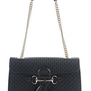 Gucci Women's Micro GG Guccissima Leather Emily Purse Handbag (Black) 36