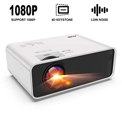 Mini Projector - Artlii Enjoy Portable Projector with ±45°Electrical 4D Keystone Correction,Lower Noise,Dolby Stereo,1080P Support Movie Projector Compatible HDMI Chromecast TV Smartphone Video Games