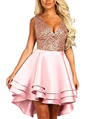 Elegant sexy sequin mini dress,simple novelty design, adds innocent fashion feeling that's quite popular with women,you can wear it all the Year Round,suitable for different ages and occasions Features: Sleeveless,V neck sequin top,Luxe satin fabric,...