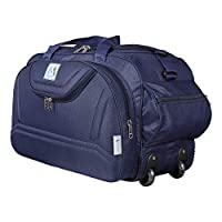 Outer Material: Nylon, Color: Navy Blue Dimensions: 56 cms x 28 cms x 33 cms (LxWxH) Number of compartments: 5 - ( 1 main compartment ,2 front, 2 side) Smooth rolling wheels for travel comfort Laptop Compatibility: No Long lasting Nylon fabric for ex...