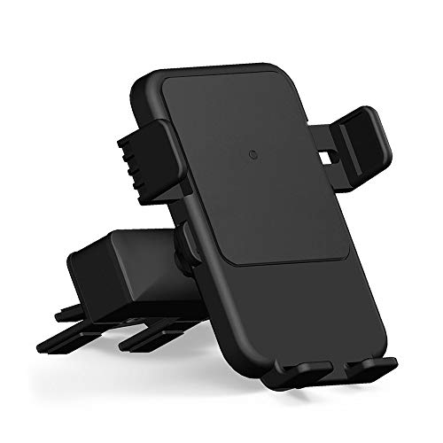 Qi Wireless Charger Car Mount - HMCC CD Slot Phone Holder Silicone Protection 360 Rotatable One-Touch Design Compatible iPhone Xs Max/XS/XR/X/8, Samsung Galaxy S10e/S10+/S10/S9/S9 Plus/S8
