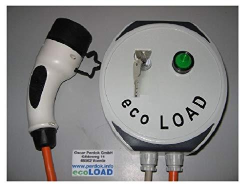 ecoLOAD - Cargador de Coche eléctrico Tipo 2, 3,7 kW, 5 Metros, Interruptor de Llave, Carcasa de Aluminio