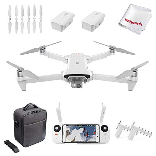 FIMI X8SE 2020 Quadcopter Drone Kit 8km Range 4K Camera UHD 100Mbp HDR Video FlyCam Quadcopter UAV GPS Tracking Smart Remote Controller, W Signal Booster & Dual Batteries, Milky White