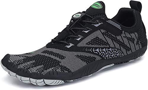 SAGUARO Barfussschuhe Herren Outdoor Fitnessschuhe Damen Barfuß Laufschuhe Walkingschuhe Minimalistische Zehenschuhe Traillaufschuhe St.2 Schwarz 41