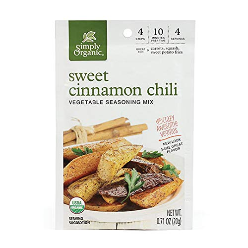 Simply Organic Sweet Cinnamon Chili Vegetable Seasoning Mix, Certified Organic, Vegan | 0.71 oz