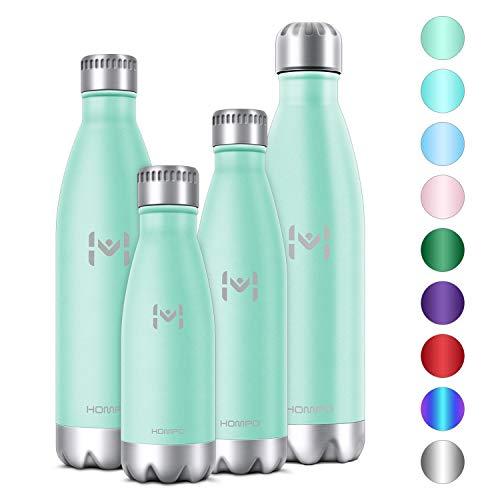 HOMPO Bottiglia Acqua in Acciaio Inox - Borraccia Termica 500ml Isolamento Sottovuoto a Doppia Parete,Privo di BPA & Leakproof,Borracce per Bambini, Bici, Palestra