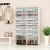 PREMAG Range-Chaussures Portable, Blanc avec Portes Transparentes, Tablette...