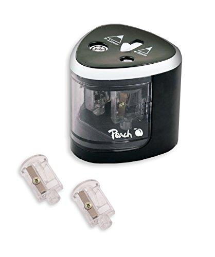 Peach PO102 elektrischer universal Anspitzer | inkl. Ersatzteile | für alle Bleistifte, Buntstifte, Eyeliner und Wachsmalstifte | Doppelspitzer für Stifte von 6-8 mm und 9-12 mm