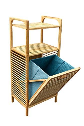 osoltus Edge Wäschesortierer Badregal Bambus Wäschekorb ausklappbar und herausnehmbar