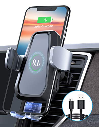 [Upgraded] VANMASS 10W Wireless Car Charger Mount, Auto Clamping, Qi Thermostasis Fast Charging, Air Vent Holder Compatible with iPhone 12 Pro 11 XR XS X 8, Samsung S21 S20 S10 S9 Note20 10, Grey