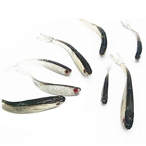 TOOGOO(R) Esche Artificiali Morbido Silicone Tiddler Esca da Pesca Fishing Saltwater Worm Fish Lure Nuovo Grigio