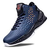 Beita High Upper Basketball Shoes Sneakers Men Breathable Sports Shoes Anti Slip, Blue, 8.5