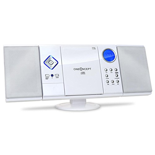 OneConcept V-12 - Stereoanlage, Kompaktanlage, Microanlage, MP3-fähiger CD-Player, UKW/MW-Radiotuner, MP3-fähiger USB-Port, SD-Slot, AUX-In, Fernbedienung, LCD-Display, weiß