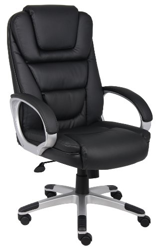 Boss Office Products High Back No Tools Required LeatherPlus...