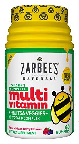 Zarbee's Naturals Children's Complete Multivitamin + Fruits & Veggies Gummies, Mixed Berry Flavors, 60 Gummies