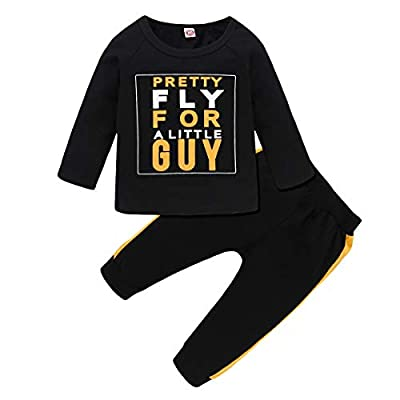 Material: Cotton blended for baby boy clothes set, soft and comfortable. kind friendly for infant baby daily wear. Support hand and machine washing. Newborn toddler Boy Outfit: Letters printed tops t shirt, Slim threaded pants with elastic waist, Var...