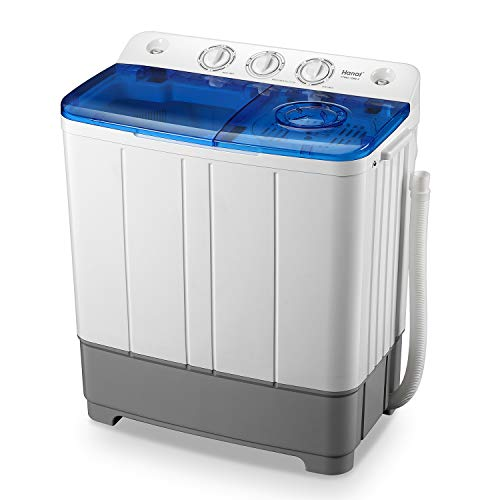 Portable Washing Machine, KUPPET 21lbs Compact Twin Tub Washer and Spin Dryer Combo for Apartment, Dorms, RVs, Camping and More, White&Blue