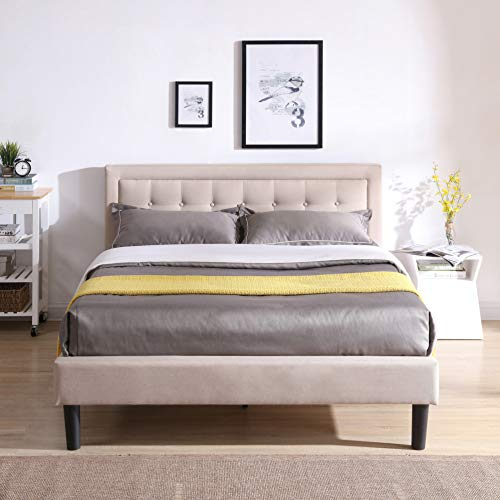 Classic Brands Mornington Upholstered Platform Bed   Headboard and Metal Frame with Wood Slat Support, Queen, Linen