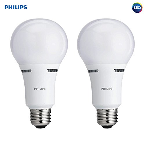 Philips LED 3-Way A21 Frosted Light Bulb: 1600-800-450-Lumen, 2700-Kelvin, 18-8-5-Watt, E26D Medium Screw Base, Warm White, 2-Pack