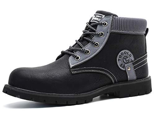 [tqgold] 安全靴 作業靴 ハイカット ブーツ 軽量 防水 革靴 鋼先芯 耐摩耗 耐滑ソール メンズ ワークマン 黒 作業 靴 仕事 工事現場 疲れない おしゃれ あんぜん靴 (ブラック 27.5cm)