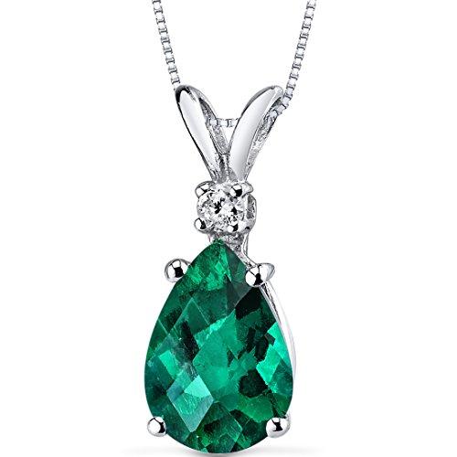 Peora Created Emerald with Genuine Diamond Pendant in 14K...