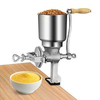 Moulin à grains manuel réglable en fonte avec grande trémie pour grains de blé, riz, noix de coco, poivre, noix de coco, broyeur de grains pour la maison et la cuisine