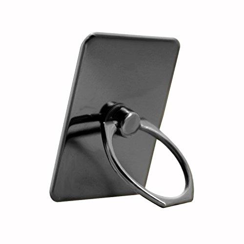 Bague Anneau Support Noire pour Alcatel Pixi 4 6pouces en Aluminium chromé Rotation de 360° au Design Élégant avec Adhésif 3M