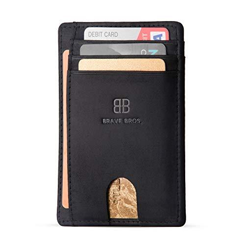 BRAVE BROS - Slim Genuine Leather RFID Blocking Minimalist Front Pocket Wallets Card Holders for Men Women (Crazy Horse Black)