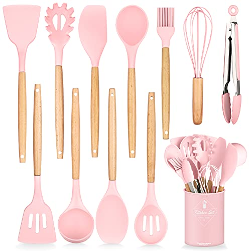 HENSHOW Set Utensili da Cucina, 12 Pezzi Set Utensili da Cucina in Silicone Include Porta Utensili - Utensile da Cucina Antiaderente AntiGraffio con Manico in Legno (Colore Rosa)