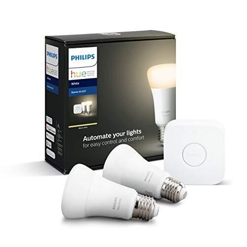 41Dhuel9tmL Bon Plan !  Philips Hue White Kit de Démarrage 2 ampoules LED connectées + Pont de connexion Hue, compatible Bluetooth - Foncti...