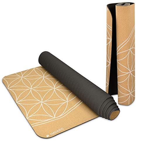 Navaris Yogamatte aus Kork rutschfeste Matte - Yoga Sportmatte Fitnessmatte mit Tragegurt - 183x61x0,5cm Fitness Gymnastikmatte - Schadstofffrei
