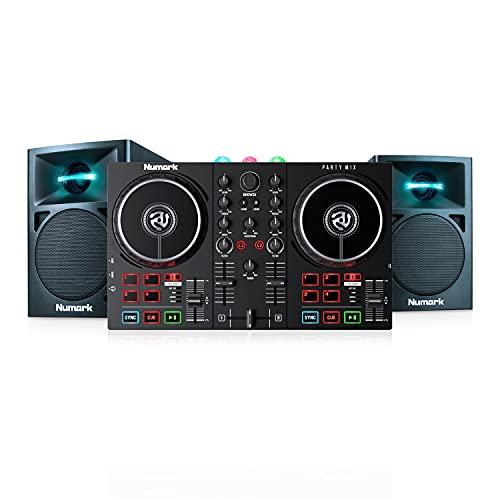 Numark Party Mix II + N-Wave 360 - Console DJ, Set da DJ per Principianti con Luci Discoteca e Mixer Audio per Serato DJ Lite + Casse PC Monitor da Tavolo Full Range