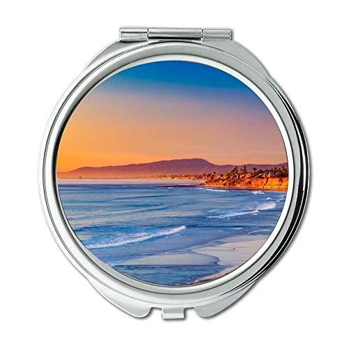 Specchio, Specchio da viaggio, bellissima spiaggia della California, Specchio tascabile, specchio...
