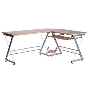 "HomCom 67"" Wooden Corner L-Shaped Computer Desk With Keyboard Tray - Natural Brown"