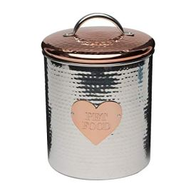 Amici-Pet-Rosie-XL-Canister-Decorative-Hand-Made-Hammered-Finish-Metal-Treats-Storage-Container-104-Ounce-Capacity