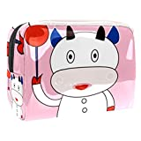 Bolsa de maquillaje portátil con cremallera bolsa de aseo de viaje para las mujeres práctico almacenamiento cosmético bolsa vaca deporte