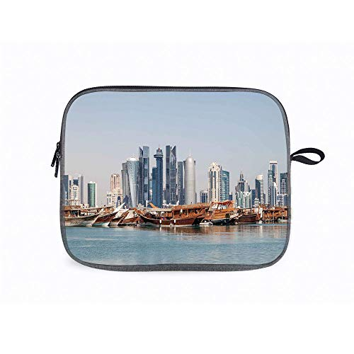 """Modern Qatar Dhow 14"""" Laptop Sleeve Case Compatible with 14"""" Notebook/ 14"""" Lenovo ThinkPad E480/Yoga 9"""