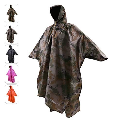 REDCAMP Regenponcho für Erwachsene, Übergröße, mit Kapuze und Ärmeln, für Männer und Frauen, für Camping, Wandern, Radfahren L XL-Camouflage 1