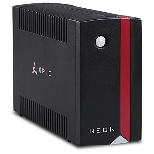 EPYC NEON - UPS para computadora, fuente de alimentación ininterrumpida para PC, potencia 1000VA / 600Watt, tecnología de línea interactiva, AVR, negro